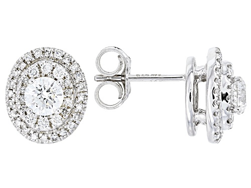 Photo of .78ctw Round White Diamond 14k White Gold Earrings