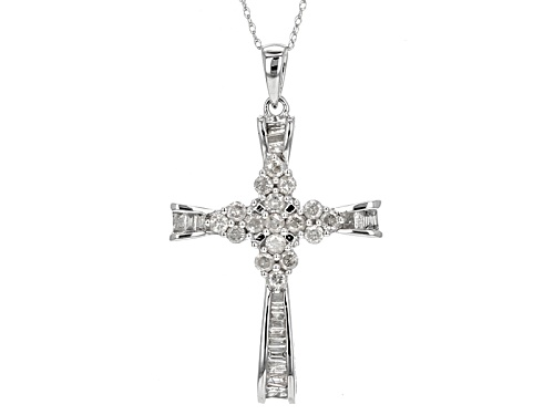 Photo of .78ctw Round And Baguette White Diamond 10k White Gold Pendant With 18 Inch Chain