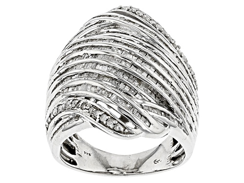 Photo of 1.50ctw Round And Baguette White Diamond Rhodium Over Sterling Silver Ring - Size 5