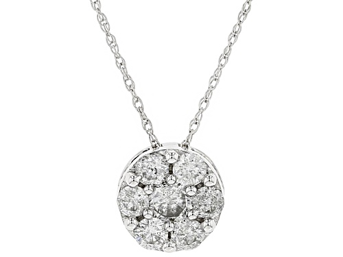 Photo of .50ctw Round White Diamond 10k White Gold Pendant With 18 Inch Rope Chain