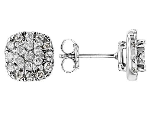 Photo of .84ctw Round White Diamond 10k White Gold Earrings
