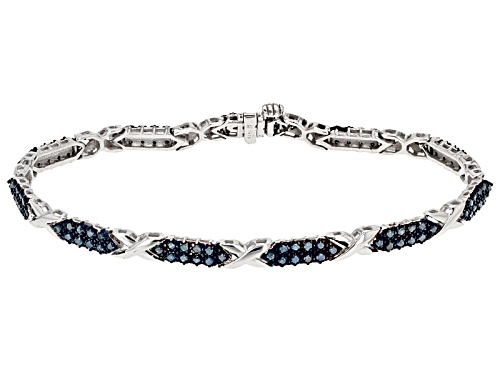 Photo of 1.50ctw Round Blue Diamond Rhodium Over Sterling Silver Bracelet - Size 7.5