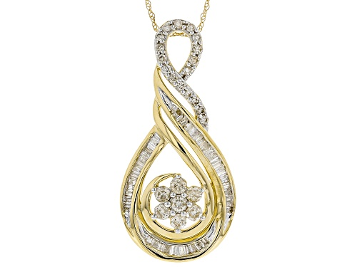 Photo of 1.08ctw Round And Baguette White Diamond 10k Yellow Gold Pendant With An 18 Inch Rope Chain