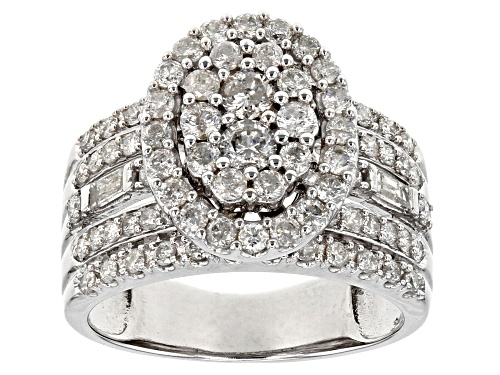 Photo of 1.55ctw Round And Baguette White Diamond 10k White Gold Ring - Size 8
