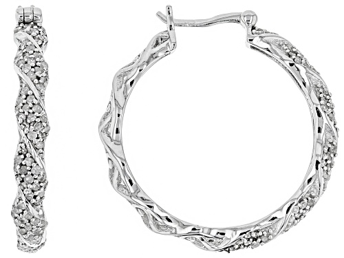 Photo of 1.00ctw Round White Diamond Rhodium Over Sterling Silver Hoop Earrings