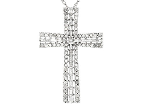 Photo of 1.08ctw Round White Diamond Rhodium Over Sterling Silver Cross Pendant With An 18 Inch Chain