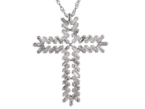 Photo of 1.00ctw Baguette White Diamond Rhodium Over Sterling Silver Cross Pendant With An 18 Inch Chain