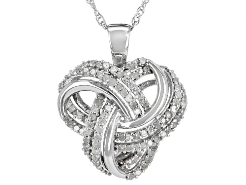.75ctw Round White Diamond Rhodium Over Sterling Silver Pendant With An 18 Inch Chain
