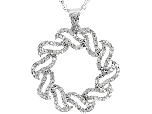 Photo of .81ctw Round White Diamond Rhodium Over Sterling Silver  Pendant With An 18 Inch Chain