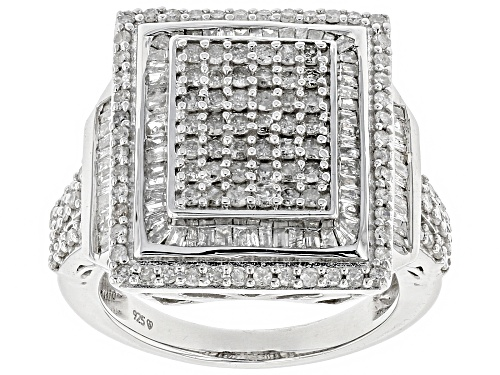 Photo of 1.43ctw Round And Baguette White Diamond Rhodium Over Sterling Silver Ring - Size 7
