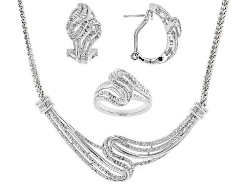 Photo of .50ctw Round White Diamond Rhodium Over Brass Jewelry Set