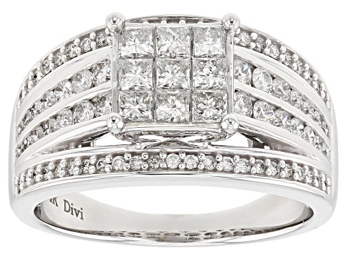 Photo of 1.20ctw Round And Princess Cut White Diamond 14k White Gold Ring - Size 7