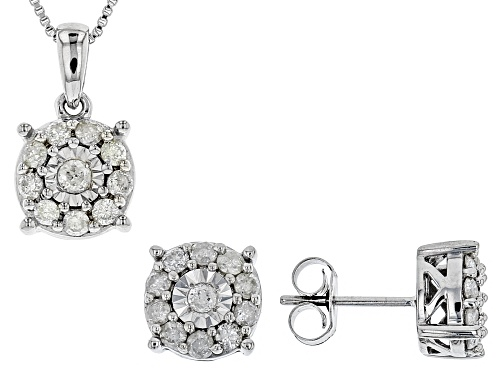 Photo of 1.00ctw Round White Diamond Rhodium over Sterling Silver Pendant and Earrings Set