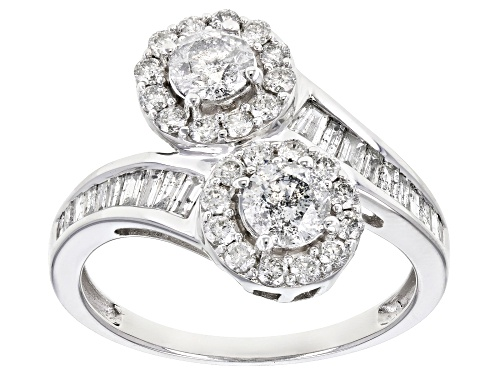 Photo of 1.50ctw Round and Baguette White Diamond 14k White Gold Ring - Size 7