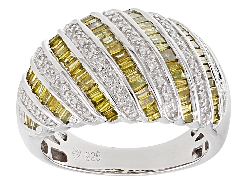 Photo of 1.00ctw Baguette Yellow and Round White Diamond Rhodium over Sterling Silver Ring - Size 7