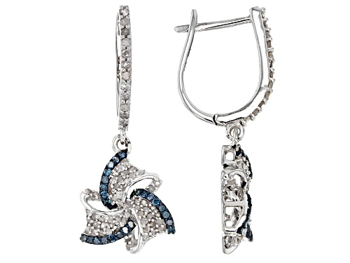 Photo of 4.93ctw Oval & 1.09ctw Round London Blue Topaz Rhodium Over Sterling Silver Hoop Earrings