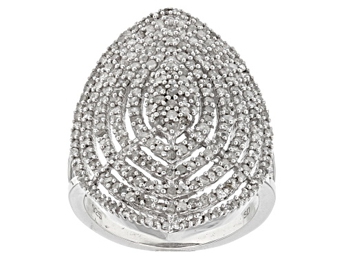 1.19ctw Round White Diamond Rhodium over Sterling Silver Ring - Size 7
