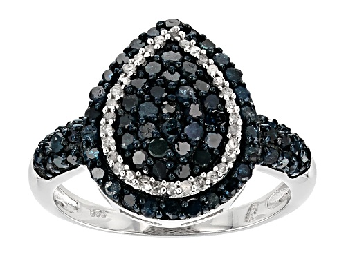 Photo of 1.00ctw Round Blue and White Diamond Rhodium over Sterling Silver Ring - Size 5
