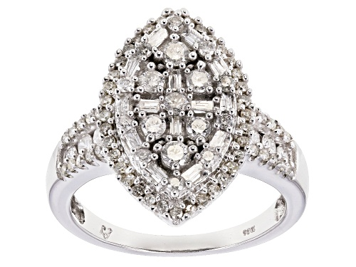 Photo of 1.00ctw Round and Baguette White Diamond 10k White Gold Ring - Size 6
