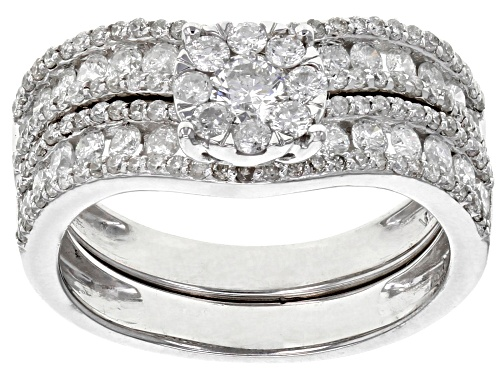 Photo of 1.50ctw Round White Diamond 10K White Gold Ring with Matching Band - Size 7