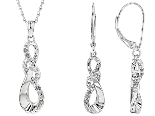 Photo of .50ctw Round White Diamond Rhodium Over Sterling Silver Pendant and Earrings Set