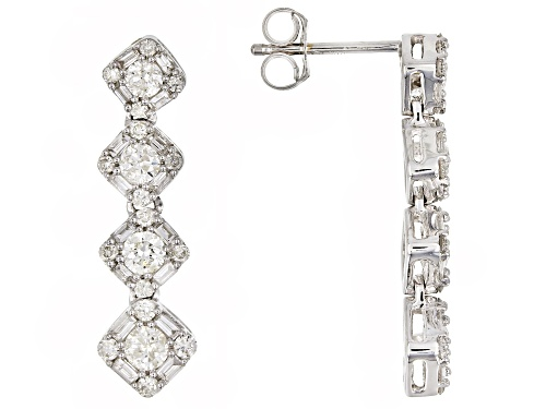 Photo of 1.00ctw Round and Baguette White Diamond 14K White Gold Earrings
