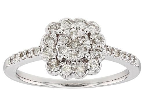 0.50ctw Round White Diamond 10k White Gold Ring - Size 9