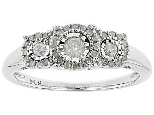 Photo of 0.25ctw Round White Diamond Rhodium Over Sterling Silver Ring - Size 6