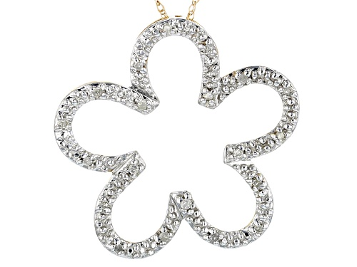 Photo of 0.10ctw Round White Diamond 10K Yellow Gold Pendant With 18 Inch Chain