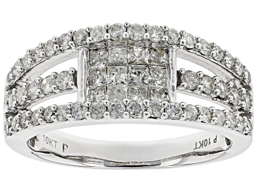 Photo of 1.00ctw Princess Cut And Round White Diamond 10K White Gold Ring - Size 9