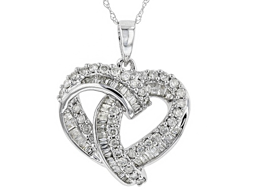 0.70ctw Round And Baguette White Diamond 10k White Gold Pendant With An 18 Inch Chain