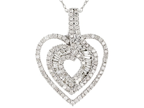 Photo of .82ctw Round And Baguette White Diamond 10k White Gold Pendant With Chain