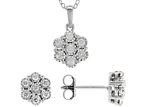 Photo of 0.50ctw Round White Diamond Rhodium Over Sterling Silver Earrings And Pendant Jewelry Set