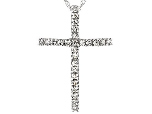 Photo of 0.13ctw Round White Diamond 10k White Gold Pendant With 18inch Chain