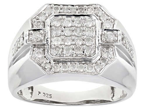 Photo of 0.70ctw Round White Diamond Rhodium Over Sterling Silver Mens Ring - Size 10