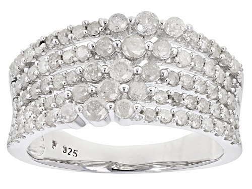 Photo of 1.10ctw Round White Diamond Rhodium Over Sterling Silver Ring - Size 7