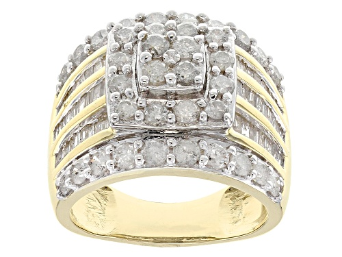 Photo of 2.50ctw Round And Baguette White Diamond 10k Yellow Gold Ring - Size 7