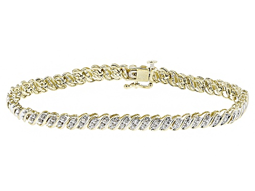 Photo of .50ctw Round White Diamond 10k Yellow Gold Bracelet - Size 7.25
