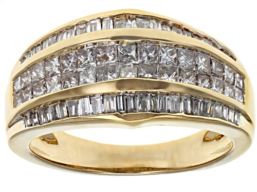 Photo of 1.35ctw Princess Cut And Baguette White Diamond 14k Yellow Gold Ring - Size 7