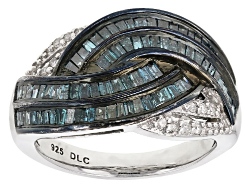Photo of 1.00ctw Baguette And Round Blue And White Diamond Rhodium Over Sterling Silver Ring - Size 7