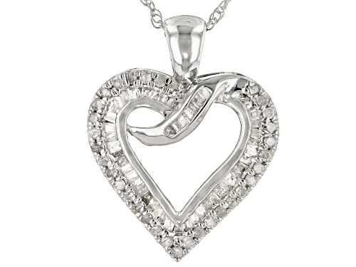"Photo of 0.56ctw Baguette And Round White Diamond Rhodium Over Sterling Silver Pendant With 18"" Chain"