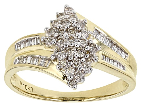 Photo of 0.50ctw Round & Baguette White Diamond 10K Yellow Gold Ring - Size 7