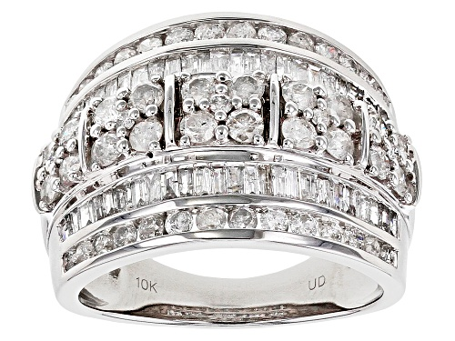 Photo of 2.00ctw Round And Baguette White Diamond 10K White Gold Ring - Size 7