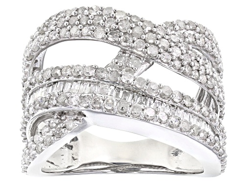 Photo of 1.60ctw Round And Baguette White Diamond 10K White Gold Ring - Size 7