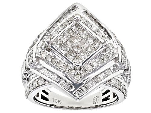 Photo of 2.00ctw Round, Baguette, & Princess Cut White Diamond 10K White Gold Ring - Size 7