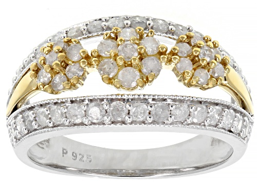 1.00ctw Round White Diamond Rhodium & 14K Yellow Gold Over Sterling Silver Ring - Size 8