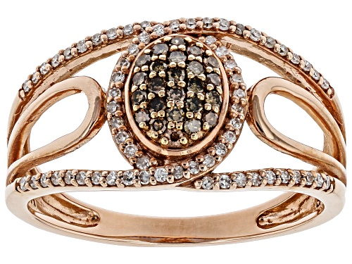 Photo of 0.25ctw Round Champagne & White Diamond 10K Rose Gold Ring - Size 7
