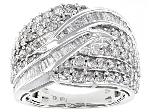 Photo of 2.00ctw Round & Baguette White Diamond 10K White Gold Ring - Size 7