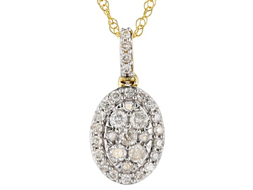 Photo of 0.50ctw Round White Diamond 10K Yellow Gold Pendant With 18 Inch Rope Chain