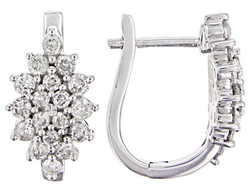Photo of 1.06ctw Round White Diamond 10K White Gold Earrings